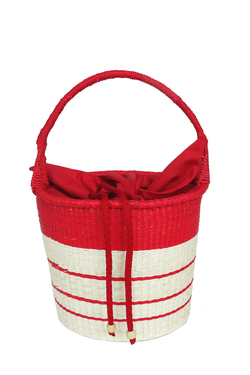 Striped bucket bag - red
