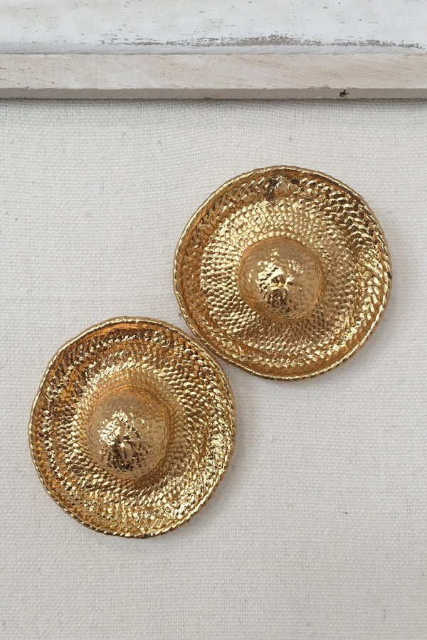 Hat gold plated earrings