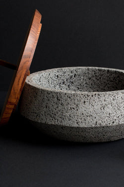 Lava Stone and Wood Container