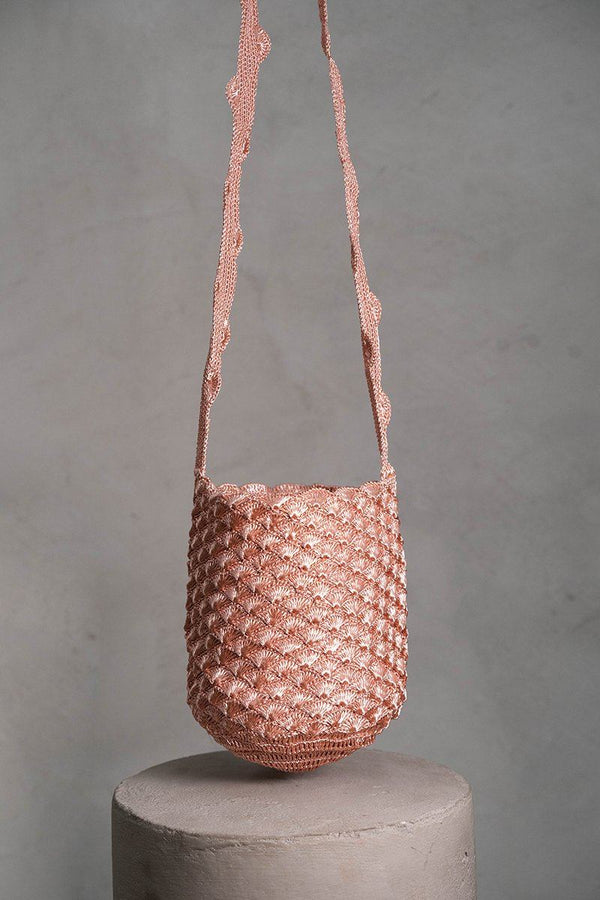 Sea shell crochet rose gold bag