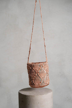 Pineapple crochet rose gold bag
