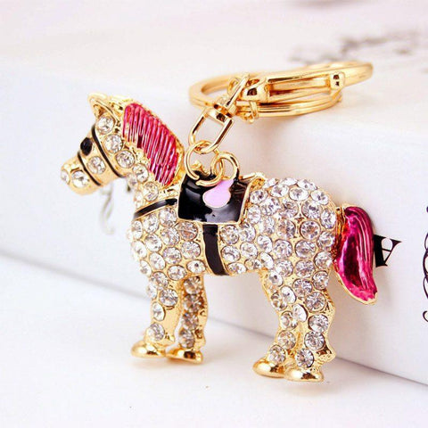 Jewelry - 14K Gold Plated Crystal Horse Rhinestone Key Chain