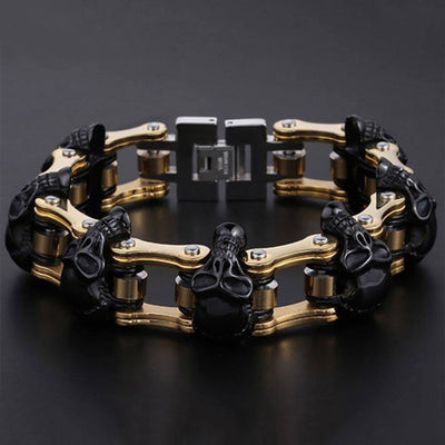 Motorcycle - Skulls & Chains Bracelet