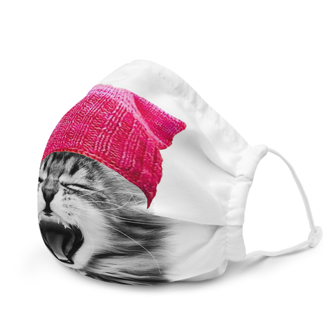 Cat in a Pink Hat Premium face mask