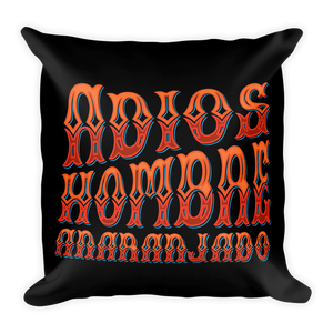 Adios, Hombre Anaranjado (Goodbye, Orange Man) Black Square Pillow