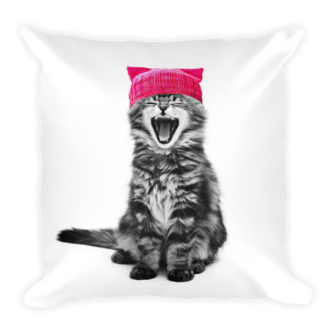 Cat in a Pink Hat Square Pillow