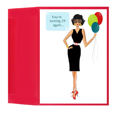 Fun and Stylish 29 Again Birthday Greeting Card