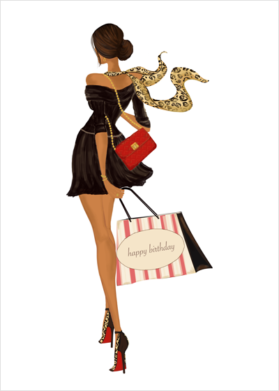 Stylish Fashionista Birthday Bag Greeting Card for Her