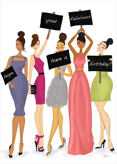 Fabulous, Multicultural Birthday Signs Greeting Card