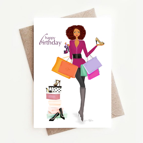 African American Black Happy Birthday Card Gift, Counting Candles