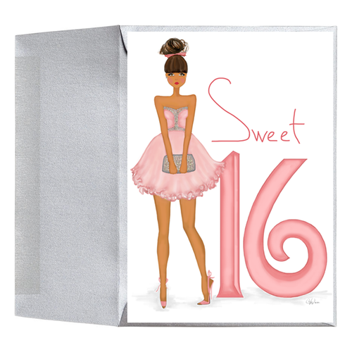 Stylish Fashionable Sweet Sixteen 16 Girl Birthday Greeting Card
