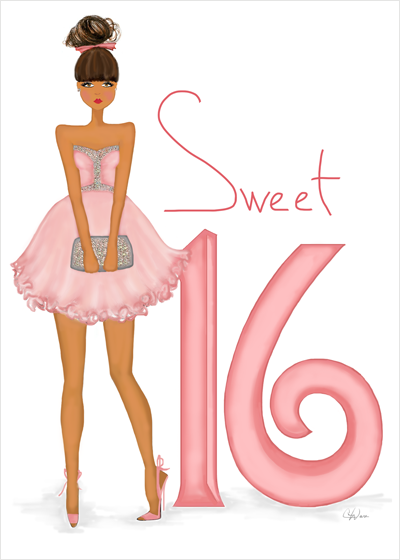 Stylish Fashionable Sweet 16 Girl Birthday Greeting Card