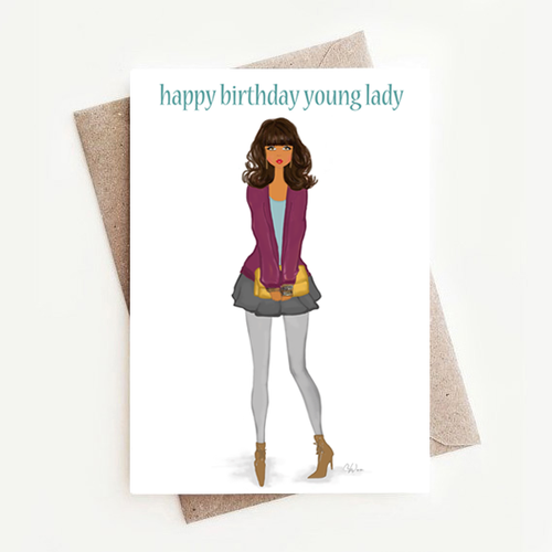 Stylish African American Birthday Greeting Card For a Young Lady