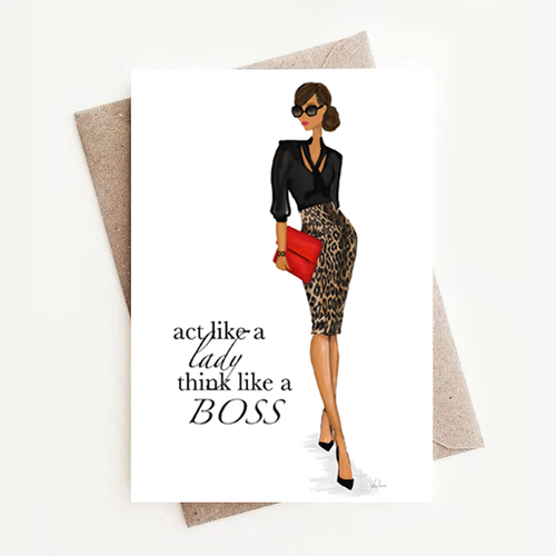 Fun Motivational Affirmations Card Gift for Her, Lady Boss
