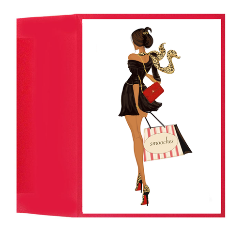 Fun, Stylish Smooches Fashion Illustration Greeting Card for Her