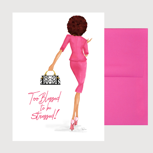 Fun Motivational Affirmations Card Gift for Her, Too Blessed