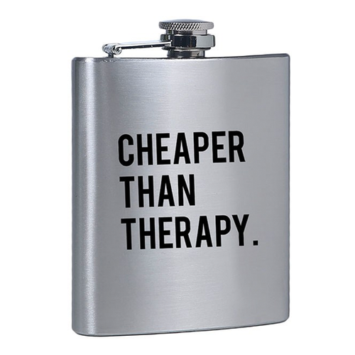 Stylish, Fun, Funny Cheaper Than Therapy Flask for Her or Gift