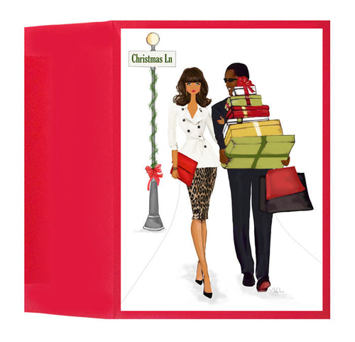 African American Christmas Holiday Greeting Card or Box: Family Card