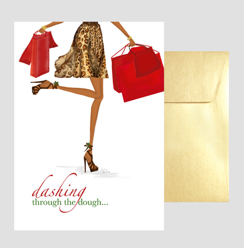 Fun, Beautiful African American Christmas Holiday Greeting Card or Box: Dashing