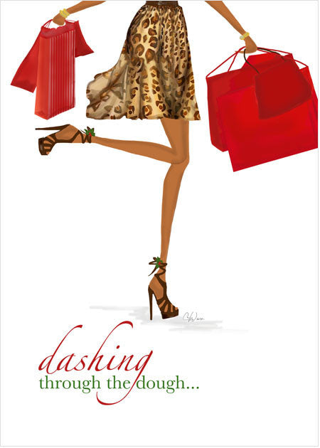 Fun, Beautiful African American Christmas Holiday Greeting Card or Boxed Set: Dashing