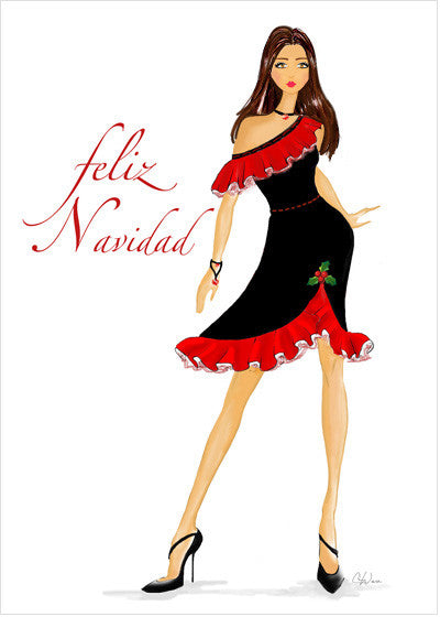 Spanish Christmas Holiday Greeting Card or Boxed Set: Feliz Navidad Wishes