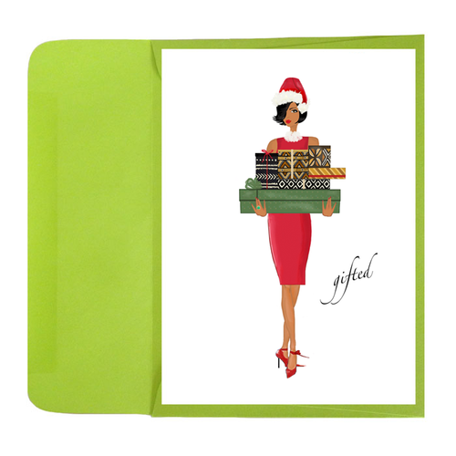 Stylish African American Christmas Holiday Greeting Card or Box: Gifted