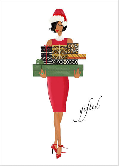 Stylish African American Christmas Holiday Greeting Card or Boxed Set: Gifted