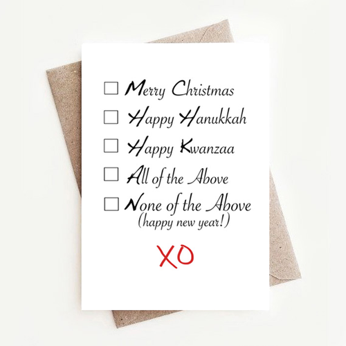 Multi-Purpose Multicultural Diversity Holiday, Hanukkah, Kwanzaa Greeting Card: Checkboxes
