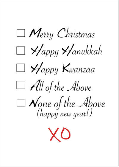 Multi-Purpose Multicultural Diversity Holiday, Hanukkah, Kwanzaa Greeting Card Box: Checkboxes