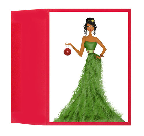 Fun Stylish African American Fashionista Holiday Christmas Card or Box: Holiday Style