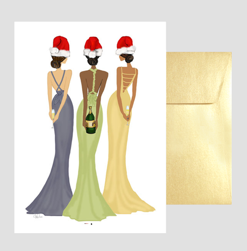 Stylish, Beautiful Lady Santa Christmas Holiday New Year Greeting Card or Box: Holiday Toast
