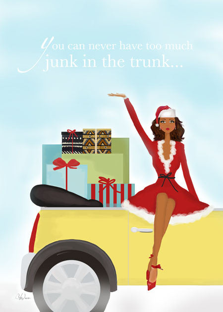 Fun Funny Unique African American Christmas Holiday Greeting Card or Boxed Set: Junk in Trunk