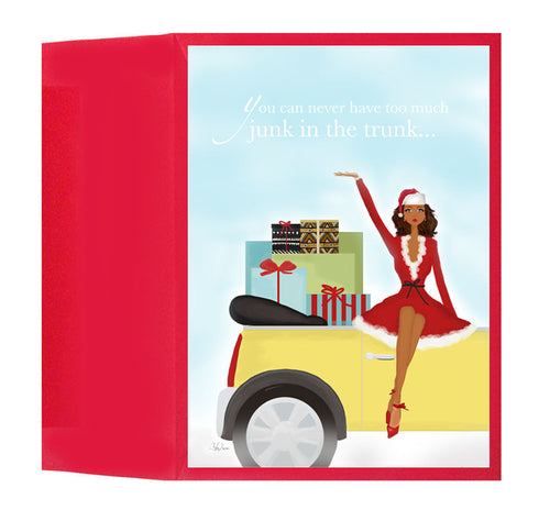Fun Funny Unique African American Christmas Holiday Greeting Card or Box: Junk in Trunk