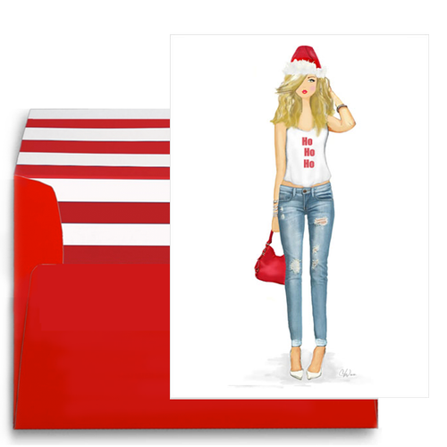 Stylish, Funny Santa Lady Christmas Holiday Card, Gift Box