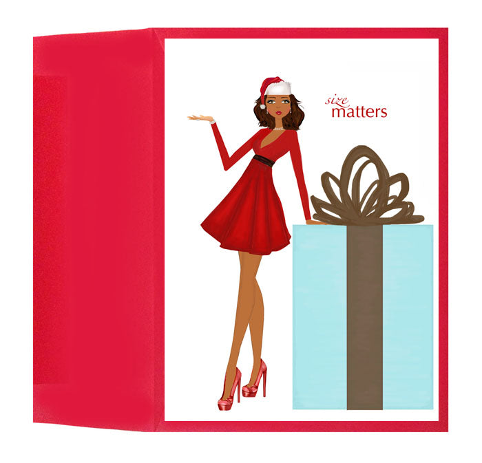 Fun, Fashionable Holiday Size Matters Christmas Greeting Card or ...