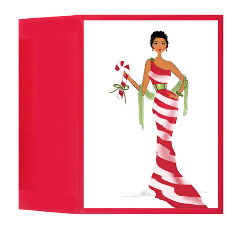 Beautiful, Fun African American Candy Cane Christmas Holiday Card, Box