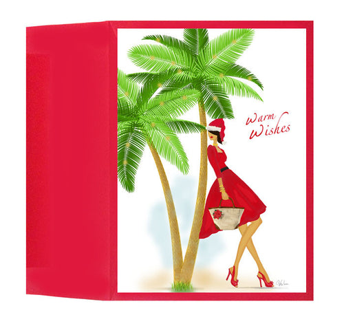 Stylish Lady Santa in Warm Weather Christmas Holiday Greeting Card or Gift Box