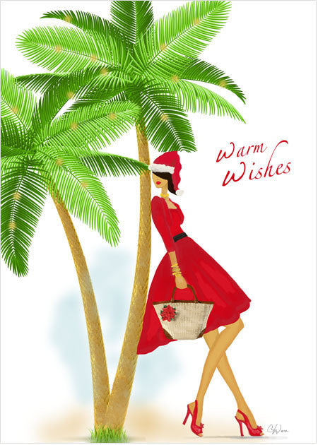 Stylish Lady Santa in Warm Weather Christmas Holiday Greeting Card or Box