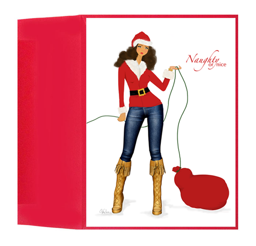 Stylish Fun Naughty or Nice Santa Christmas Holiday Greeting Card, Box