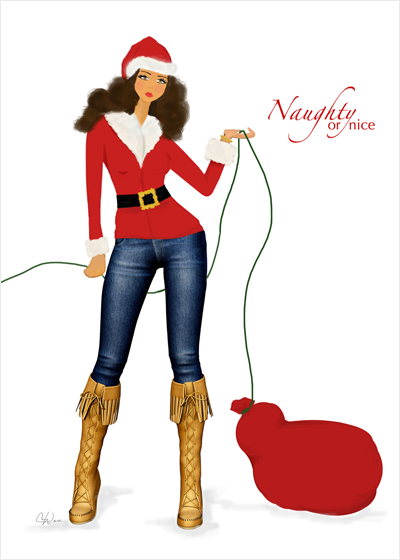 Stylish Fun Naughty or Nice Santa Christmas Holiday Greeting Card or Boxed Set