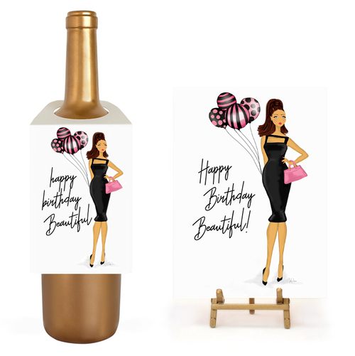 Fun Stylish Birthday Balloons Wine Gift Set, Greeting Card