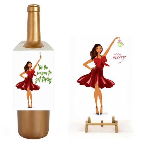 Fun Holiday Tis the Season Tipsy Wine Gift Set, Card and Wine Tag