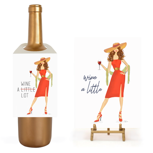 Fun, Funny, Unique Wine A Lot Gift Set | Wine Tag and Greeting Card
