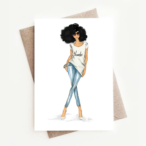 Fun Stylish Fashion Illustration Thank You Greeting Note Cards Gift Box