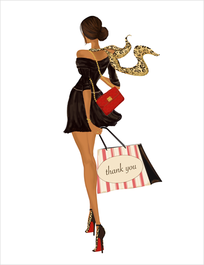Fun Stylish Fashion Illustration Thank You Greeting Note Cards Gift Set