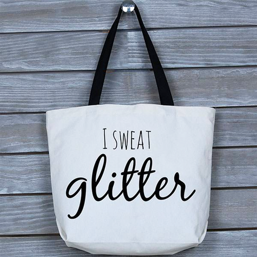 Fun, Funny, Stylish, Motivational I Sweat Glitter Tote Bag Gift