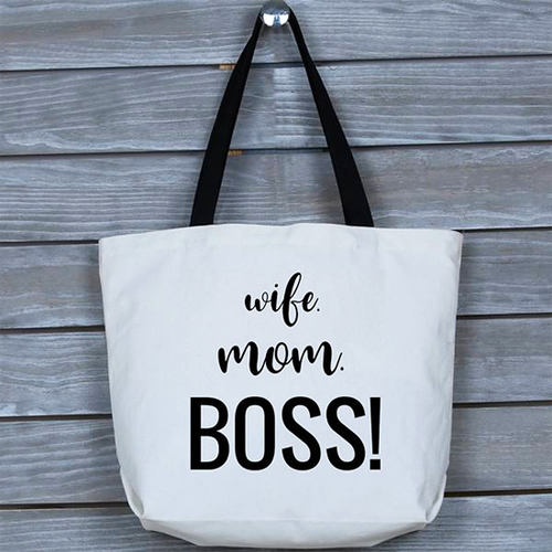 Stylish, Fun, Funny Wife Mom Boss Tote Bag | Gift for Mothers