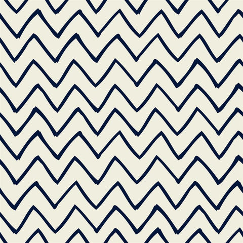 Chevron Photo Backdrop - Les Fauves Navy on Cream