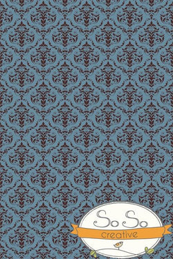 Damask Diva Photo Backdrop - Blue & Brown Backdrops SoSo Creative