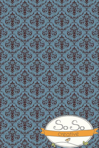 Damask Diva Photo Backdrop - Blue & Brown